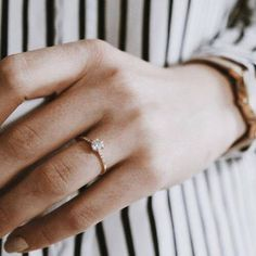 Simplistic Minimalistic Gold Diamond Engagement Wedding Ring