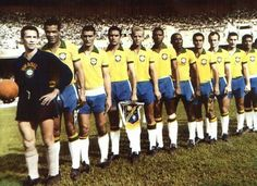 Brazil team line up in Rio de Janeiro at the 1950 World Cup Finals.
