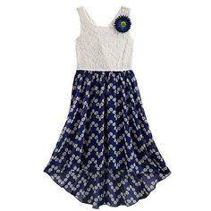 Speechless Lace Floral Hi-Low Dress - Girls 7-16
