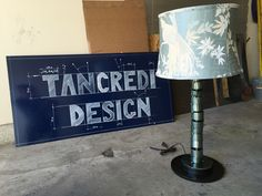 The lamp made by hand using salvaged steel