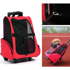 Pet Carrier Dog Cat Rolling Backpack Travel Backpack Trolley For Dogs And Cats Portable Luggage Bag