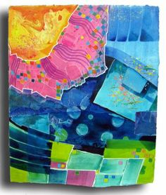 """Melody's Paintings: Friday Afternoon 15 x17"""" Acrylic, Prismacolor and inks, with collage"""