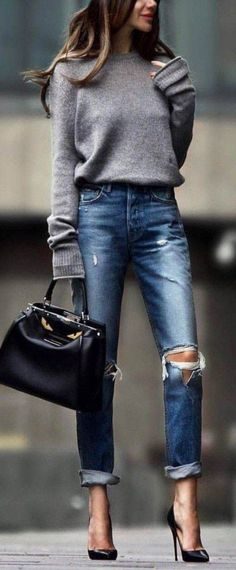 a90c369f2dbc 17 Chic Tote Bags for Work - From Luxe With Love. Grey Jumper OutfitLight  Jeans ...