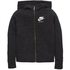 Nike Older Girls Gym Vintage Hoody featuring polyvore women's fashion clothing tops hoodies jumper sweatshirt marled hoodie nike hoodies hooded zip sweatshirt zip hoodies vintage hoodie