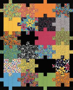 Patchwork Puzzle Quilt - Great idea for an autism charity quilt