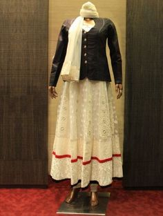Black and Cream Net Suit with Resham Embroidery Work