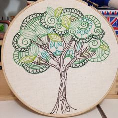 tree of life from 3and3 quarters blog-amazing needlework! #HandEmbroideryPatterns