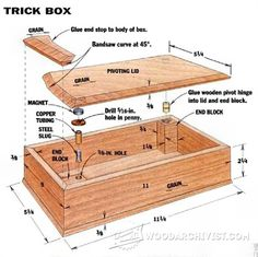 Wooden Hinged Box Plans - Woodworking Plans and Projects - Woodwork, Woodworking, Woodworking Tips, Woodworking Techniques Woodworking Garage, Woodworking Projects That Sell, Learn Woodworking, Woodworking Crafts, Small Wood Projects, Wood Plans, Wood Working For Beginners, Wood Boxes, Trick Box
