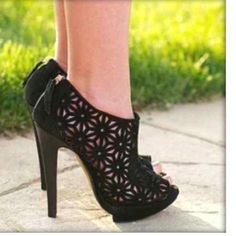 35fddc9dae684 Black lace cutout heels  shoes