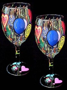 Birthday Balloons Wine Glasses 16oz.-We can't avoid birthdays...so why not celebrate?