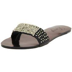 Envy Women`s Flipside Thong Sandal,Black,7 M US $41.99
