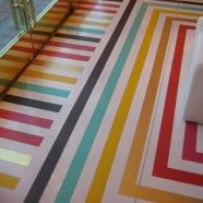 This would be awesome to jazz up an #unfinished basement.  Colored Floor Tape.