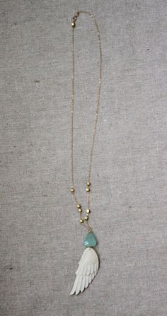 Angel wing necklace, with semiprecious chalcedony stone and 14K gold filled chain