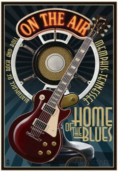 Memphis, Tennessee - Guitar and Microphone - Blue Posters at AllPosters.com