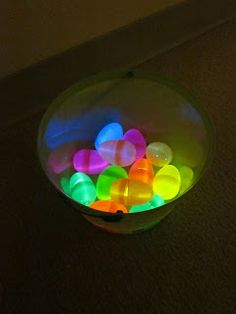 Put glowsticks inside plastic Easter eggs, hide the eggs, turn off the lights and let the fun begin! This is a great game any time of the year. You don't have to wait for Easter.