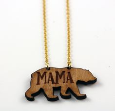 Mama Bear Necklace - Wooden Bear Necklace - Valentines Day Gift - New Baby Gift - Gift for Mom - Laser Cut - Laser Engraved Wooden Necklace