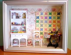 Quilter's Miniature Shadowbox by PeachBlossomHill on Etsy