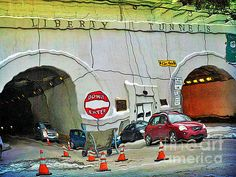 I Love Pittsburgh - Liberty Tunnel Donut Eater - Comical Photopainting by Shelly Weingart - I Love Pittsburgh - Liberty Tunnel Donut Eater - Comical Photopainting Photograph - I Love Pittsburgh - Liberty Tunnel Donut Eater - Comical Photopainting Fine Art Prints and Posters for Sale