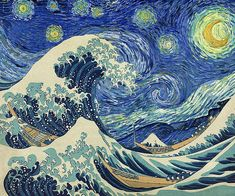"""Image info: Van Gogh's """"Starry Night"""" and Hokusai's """"The Great Wave off Kanagawa"""" in one painting. Fun fact: van Gogh was a huge fan of Japanese art, especially Ukiyo-e prints. Vincent Van Gogh, Gogh The Starry Night, Starry Nights, Van Gogh Art, Art Van, Art Asiatique, Great Wave Off Kanagawa, Art Japonais, Collage Artists"""