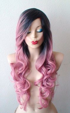 Hand dye Dark roots Pastel pink wig. Pink Ombre wig. by kekeshop