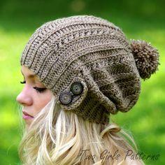 Crochet Hat Pattern - Slouchy Hat Pattern - Boy Girl Unisex Hat - 7 sizes…