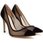 GIANVITO ROSSI Contrasting Suede and Mesh High Heels