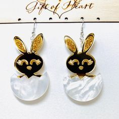 Laser Cut Easter Bunny Acrylic Earrings, Gold Rabbit Statement Earrings, Gift for Rabbit Lovers What Sells On Etsy, Sell On Etsy, Etsy Jewelry, Handmade Jewelry, Handmade Gifts, Handmade Items, Unique Earrings, Statement Earrings, Easter Bunny