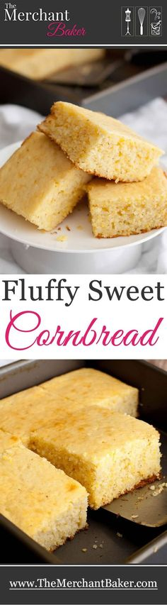 Fluffy Sweet Cornbread. An easy one bowl recipe that makes a delicious, sweet, fluffy and moist cornbread. Great with chili, yummy for breakfast!