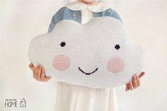 Knit Cloud Pillow :) WHITE. $50.00, via Etsy.