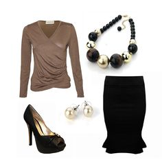 Office Clothing for Women.     This look includes a smart work top, work jewellery and a black work skirt. http://www.pinstripeandpearls.com/women/business-occasion/working-week