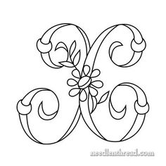 X Monogram for Hand Embroidery in the Daisy & Rings alphabet. See these and other designs here on Mary Corbet's Needle 'n Thread blog with PDF ... http://www.needlenthread.com/2008/06/monograms-for-hand-embroidery-index.html  Click through to site page for more info.