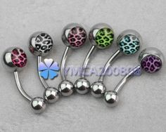 6pcs Multicolor Leopard Ball Navel Belly Bars Rings Studs Piercing Xmas Gift New | eBay