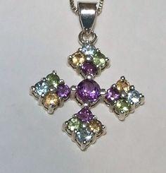 Vintage Gemstone Maltese Cross Pendant Sterling by InVogueJewelry, $58.00