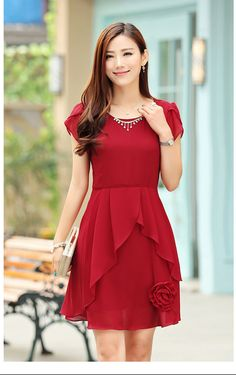 Buy Sol Red Solid Georgette Party Wear Dress online in India at best price. Modest Dresses, Stylish Dresses, Cute Dresses, Casual Dresses, Girls Dresses, Frock Fashion, Fashion Dresses, Iranian Women Fashion, Fancy Tops
