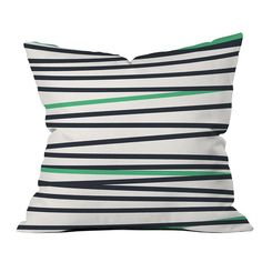 Green and Black Striped Modern Pillow