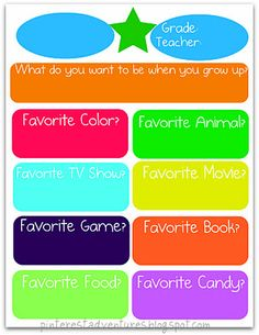 Memory Book Questions to ask kids every year. School Scrapbook, Scrapbook Journal, Printable Crafts, Free Printables, Teaching Kids, Kids Learning, Classroom Organization, Classroom Ideas, Organizing