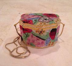 Vintage JUDITH LEIBER Swarovski crystal gold/floral minaudiere box shoulder bag