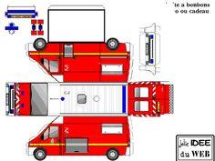 DECOUPAGE_3 Paper Model Car, Paper Car, Paper Models, Paper Toys, Fireman Birthday, Fireman Party, Fireman Sam, Printable Box, Free Printables