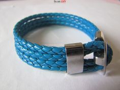 Cool  Blue Leather and stainless steel Buckle by sevenvsxiao, $7.50