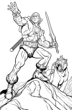 This time we offer you coloring pages featuring He Man character that you love! Easy Coloring Pages, Cartoon Coloring Pages, Coloring Books, Boy Coloring, He Man Desenho, Drawing Superheroes, Nerd Art, Comic Pictures, Comic Artist