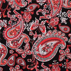 black flower paisley fabric Rubies from the USA - Flower Fabric ...