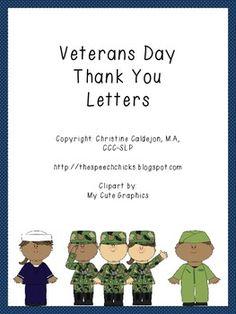 Veterans Day FREEBIE! Dear Veteran, Thank you for... letter ...