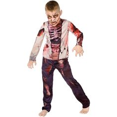 Watch your child scare other trick or treaters this Halloween when they wear this spooky Zombie Child's Halloween Costume. This costume has pants and a shirt featuring gruesome imagery of decomposing zombie flesh for a ghoulish look. Halloween Zombie, Boy Zombie Costume, Horror Halloween Costumes, Zombie Kid, Halloween Kids, Halloween 2017, Zombie Party, Healthy Halloween, Halloween Dinner