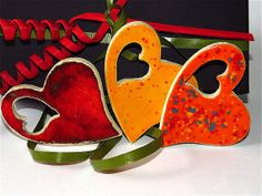 3 Hearts of Ceramic Gift tag Gift for Guest Give away by gedemuck, €4.50