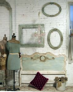 antique bench, frames and accessories in pretty mint greenish color.