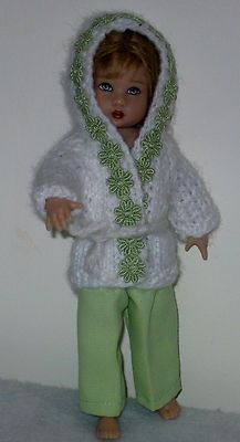 "Hand knit hooded sweater + slacks fit 8"" Kish Riley doll"