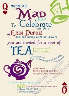 3e6ed973d8c7 Alice in Wonderland   Mad Hatter inspired shower invitation. Sold on Etsy -  printable.
