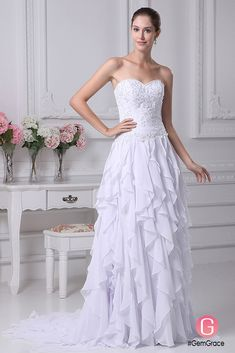 Only $199.9, Wedding Dresses Strapless Sweetheart Embroidery Beaded Cascading Bridal Dress with Train #OP4273 at #GemGrace. View more special Wedding Dresses now? GemGrace is a solution for those who want to buy delicate gowns with affordable prices, a solution for those who have unique ideas about their gowns. Find out more>>