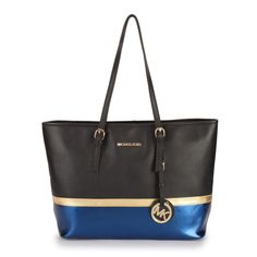 b18504926a0745 Big Discount Michael Kors Jet Set Travel Matching Medium Black Blue Totes  With Top Material Online Sale For You! Find this Pin and more ...