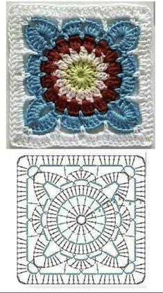 Crochet Square Patterns, Crochet Squares, Crochet Granny, Crochet Stitches, Crochet Mandala, Crochet Doilies, Crochet Lace, Crochet Fingerless Gloves Free Pattern, Minecraft Crafts